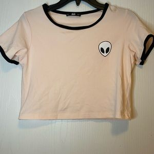 Baby pink cropped shirt